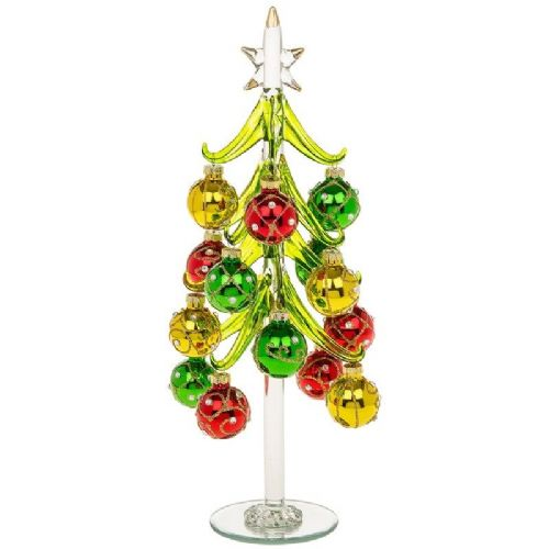 Extra Large Clear Glass Christmas Tree with Vibrant Jewelled Baubles